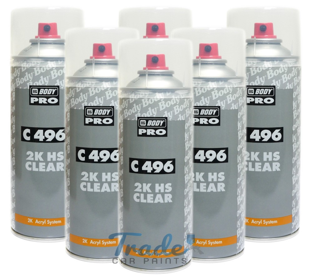 HB Body 496 2K Clear Lacquer 6 x 400ML Aerosol