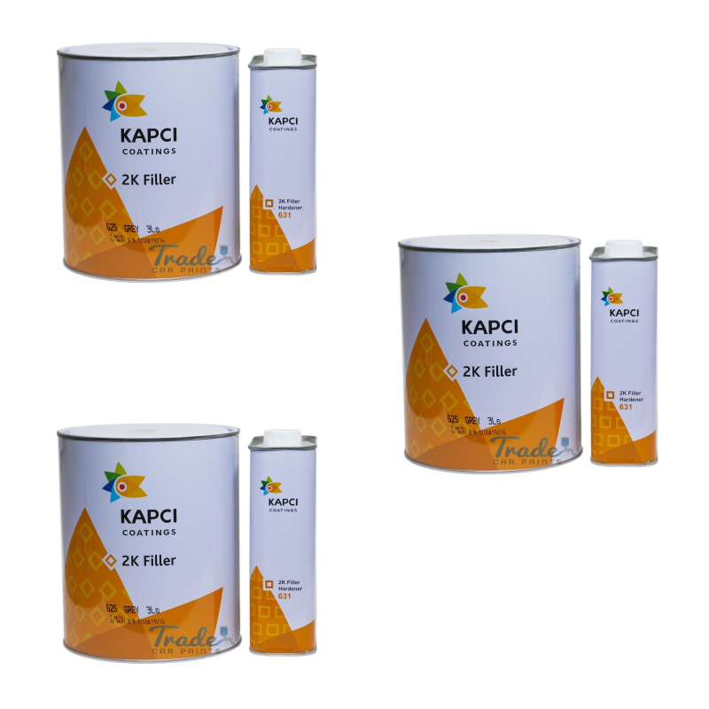 Kapci 2K Grey High Build Primer 3 x 3.75Litre Kit