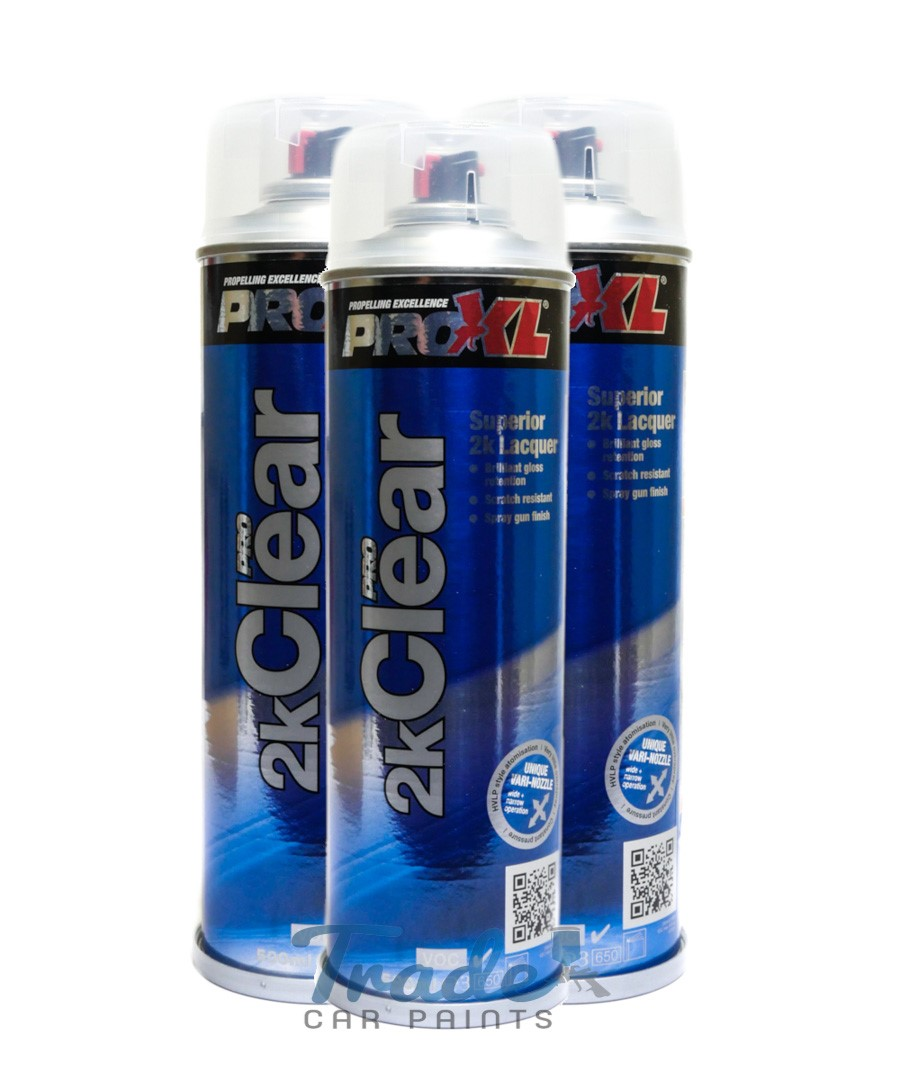 PRO-XL 2K Clear Gloss Lacquer 3 x 500ML Aerosol