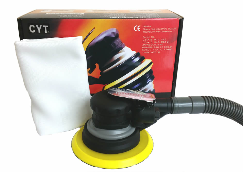 "6"" Air Palm Sander With Dust Bag and Hose."