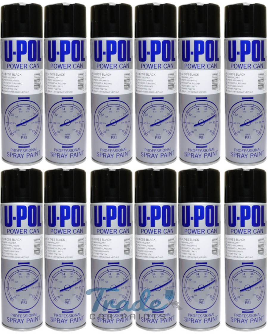 U-POL Black Gloss Aerosol 12 x 500ML