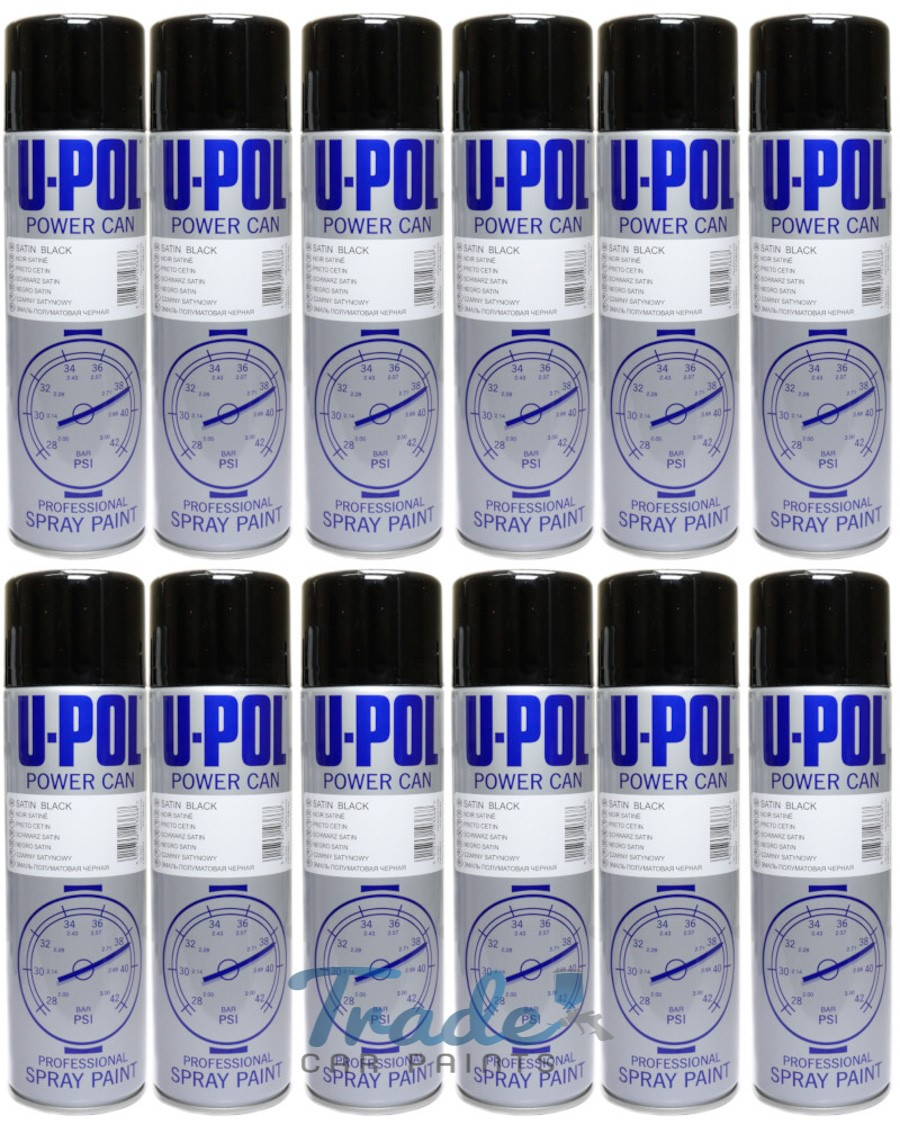 U-POL Satin Black (Semi Gloss) Aerosol 12 x 500ML
